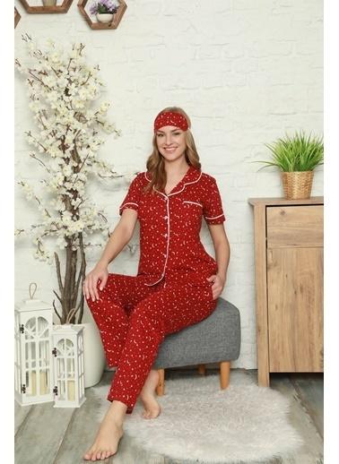 Akbeniz Kadın %100 Pamuk Önden Düğmeli Kısa Kol Pijama Takım 2809 Bordo